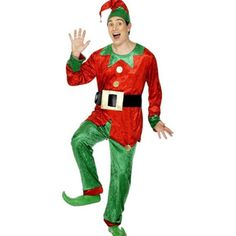 The Adult Male Elf Costume in red includes jacket, trousers and hat.