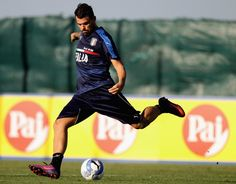 Andrea Petagna of Italy U21 in action during the Italy U21 training session on October 4, 2016 in Rome, Italy.