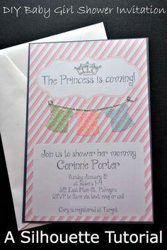 diy baby girl shower invitations