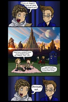 OMG THOR LOKI THE DOCTOR AND RIVER ALL MASHED INTO ONE COMIC OMVFIKCEUUFETH