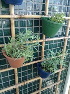 WP_000215 suporte de bambu, cachepôs de plastico presos com arame e é só encaixar os vasos