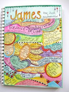 "This is about the Book of James, and despite what I read on first glance, it is not subtitled ""The Just Handyman of God."" A Palette Full of Blessings: Spiritual Art Journal. Bible Notes, My Bible, Bible Art, Bible Scriptures, Bible Study Journal, Art Journal Pages, Art Journaling, Scripture Journal, Prayer Journals"