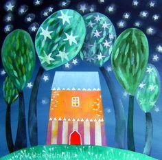 E così, la notte prese forma - by Tiziana Rinaldi #night #painting #art