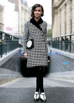 Best street style: Statement coats: Houndstooth Spotted at: Paris Fashion Week Spring 2014 Style spotlight: Russian street style star Miroslava Duma is the picture of effortless chic in Dior houndstooth.