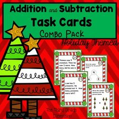 This Combo Pack saves you $1.00! Get 60 basic addition and subtraction task cards just in time for your holiday themed lessons!
