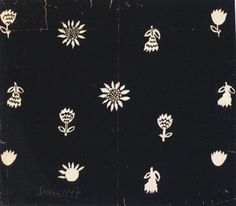 Sonia Delaunay. White flowers on a black background.