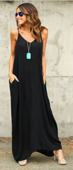 Purchase Loose-Fit Maxi Cami Dress With Pockets - Black from StarStyle on  OpenSky. Share and compare all Day Dresses in .