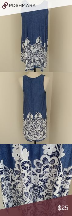 """Lydiane Moa jean floral tunic New. Lightweight 95% polyester/5% spandex. Beautiful floral detail. Chest is 33"""", length is 31.5"""". lydiane Tops Tunics"""