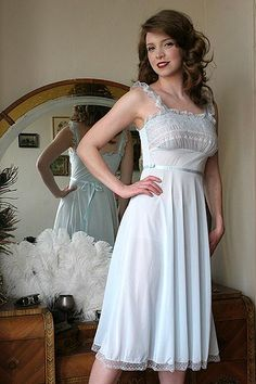 On Dollhouse Bettie: 50s Vintage Luxite Baby Blue Smocked Lace Nightgown $109.00