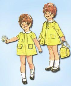 1970s Vintage Baby Dress, Coat & Bonnet 1970 Simplicity Sewing Pattern Sz 1 #Simplicity