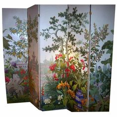 """Five panel screen covered in handprinted paper by Zuber and Cie. The company was founded in 1797 and still in operation. Images and information from """"From Eye For Design: Decorating With Zuber Scenic Wallpaper"""" at http://eyefordesignlfd.blogspot.com/2014/02/decorating-with-zuber-scenic-wallpaper.html"""