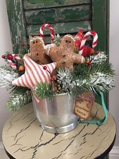 Prim Gingerbread, Candy Canes in Vintage Sifter, Handmade, Winter/Christmas #Artist