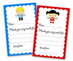 cute thank you notes - free printable