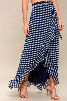 Florida Keys Blue and White Gingham Wrap Maxi Skirt 2