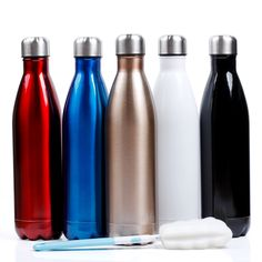 Sfee 25oz Vacuum Insulation Water Bottle - Double Wall, BPA-Free, Stainless Steel, Leak Proof-Large Cola Sports Travel Bottles Cup Perfect for Men, Outdoor, Fitness, Camping+Cleaning Brush(Dark Blue)