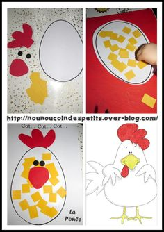 - Today a little chicken just collage, cot cot cot la poule ! - You can print the template for the Easter Activities, Easter Crafts For Kids, Preschool Crafts, Diy For Kids, Party Activities, Little Hen, Christmas Paper Plates, Diy And Crafts, Arts And Crafts