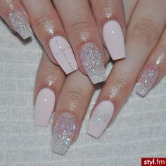 Coffin Nails, Glitter Nails, Blush Pink