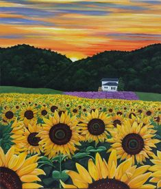 Field of Sunflowers and Lavender; How to Make Acrylic Painting Less Stressful...sunflowers, love 'em!