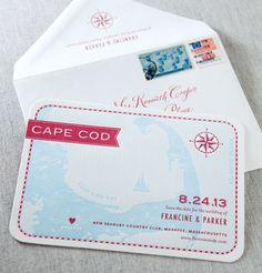 Map printed on card... Nautical Invitations, Unique Wedding Invitations, Diy Invitations, Wedding Stationary, Bridal Shower Invitations, Invites, Cape Cod Wedding, Wedding Navy, Wedding Types