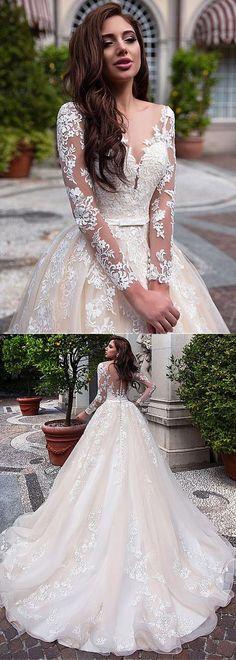 Elegantes Tulle & Organza Scoop Ausschnitt Ballkleid Brautkleid mit Spitze Appli ...  #ausschnitt #ballkleid #brautkleid #elegantes #organza #scoop #tulle