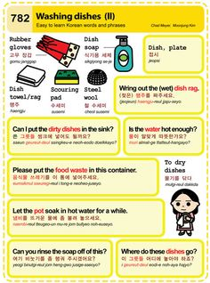 Easy to Learn Korean 782 - House: Washing Dishes (Vocab) Learn Basic Korean, How To Speak Korean, Korean Words Learning, Korean Language Learning, Learn Hangul, Korean Writing, Korean Alphabet, Korean Phrases, Korean Lessons