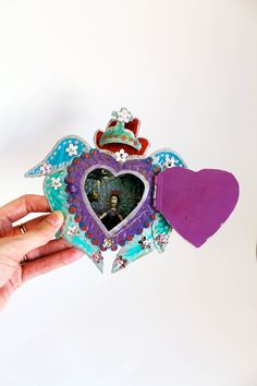 Mexican winged sacred heart tin nicho with heart by TheVirginRose