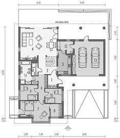 Projekt domu Alan IV G2 multi-comfort 137,75 m2 - koszt budowy - EXTRADOM House Plans, Floor Plans, House Design, Houses, Trendy Tree, Future House, Homes, House Floor Plans, Architecture Design