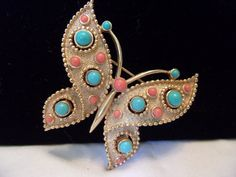 TRIFARI Butterfly Insect Brooch Pin Vintage Etruscan Revival Turquoise Coral…