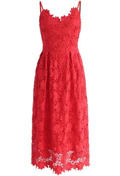 Ebullience of Flowers Crochet Cami Dress in Red - New Arrivals - Retro, Indie and Unique Fashion