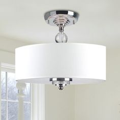 Crystal Decorated Off-White Shade Flushmount Ceiling Chandelier   Overstock.com Shopping - The Best Deals on Flush Mounts
