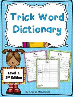This Level 1 Fundations Trick Word Dictionary is perfect to add to your first graders writer's workshop folder. It's a great place to keep all level 1 trick words in one place! First Grade Phonics, First Grade Activities, Writers Workshop Folders, Grade 1 Lesson Plan, Wilson Reading, Kindergarten Units, Word Study, Word Work, School Worksheets