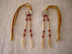Native Hair Ties Hairpipe Bone Beaded Abalone Cherokee Regalia