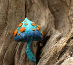 Blue orange white amanita fairy garden fantasy mushroom  ,polymer clay toadstool Home decor,Fairy Garden