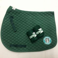- Starbucks Set Includes: - 2 Polo Wrap - Hunter Green Fleece with Starbucks Ribbon and White Velcro. - Saddle Pad - Horse Sized Starbucks Decal on Both sides of the pad - Items Also Sold Separately -