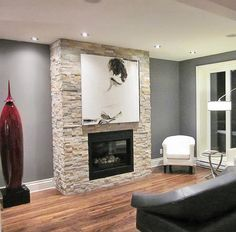 Front room with modern heights – Front room – Earlier than after – Ornament and renovation – Pratico Pratique Diy Living Room Decor, Living Room Paint, Home Living Room, Apartment Living, Home Fireplace, Fireplace Mantels, Home Decoracion, Front Rooms, Beautiful Living Rooms