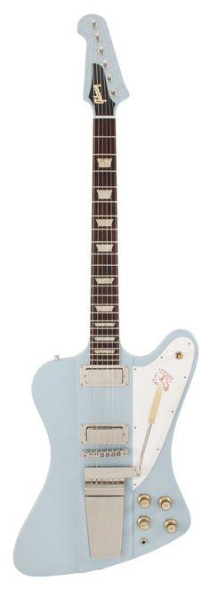 1965 Gibson Custom Shop, neck-thru-body, Firebird V, w/ Maestro trem unit, trapezoid inlays, frost blue and chrome hardware.