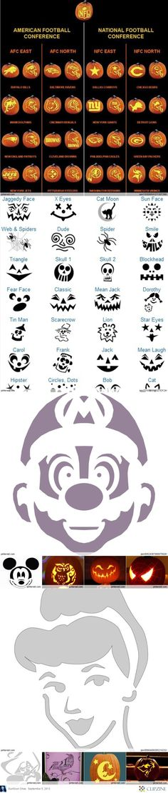 Pumpkin Carving Patterns for football teams! #halloween