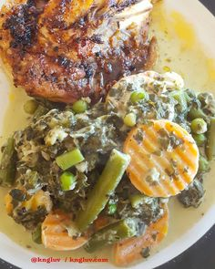 Grilled chicken breast with spinach and feta carrots beans and cauliflower with a butter and cream sauce #grilledchicken