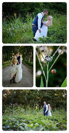 rustic wedding, country wedding, corn, soy bean, wedding photography, bride, groom, hunter, boots, tractor.