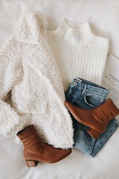winter fashion inspo for These cozy basics are perfect for layering for cold weather. A white fuzzy jacket layers perfectly on top of a chic white turtleneck. These neutral colors allow for versatility and endless outfits. Winter Outfits For Teen Girls, Fall Winter Outfits, Autumn Winter Fashion, Winter Clothes, Cold Weather Outfits Casual, Winter Shoes, Cozy Clothes, Comfortable Clothes, Winter Fashion Casual