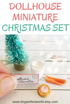 Miniature Christmas Set : Christmas Eve Miniatures, polymer clay food for santa, dollhouse Christmas decorations, mini food for dollhouse.  Click here to see details on website and for more dollhouse miniatures from Tiny Perfect World. #dollhouse #dollhouseminiatures