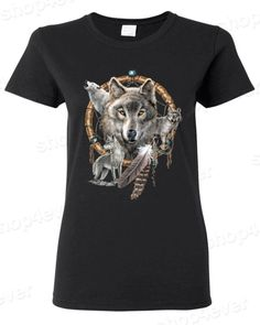 Wolves Dreamcatcher Women's T Shirt Native American Shirts American Indian | eBay