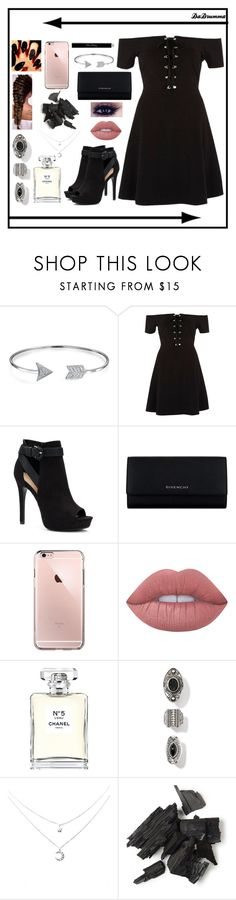 """Black Date Night"" by dadrumma ❤ liked on Polyvore featuring Bling Jewelry, River Island, Apt. 9, Givenchy, Lime Crime, Chanel and Christian Dior"
