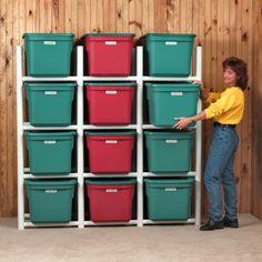 Bin Warehouse 12 Tote Storage System H 4 Shelf Shelving Unit Tote Storage, Diy Storage, Locker Storage, Storage Racks, Storage Ideas, Garage Storage Shelves, Shop Storage, Desk Shelves, Cabinet Storage