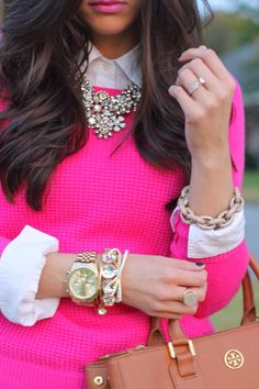 love the hot pink with statement necklace