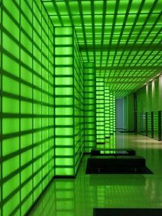 Neon Lobby - 473 Bourke Street, Melbourne (Note to self: when boss of giant company, have your office be like this) Dark Green Aesthetic, Neon Aesthetic, Futuristic Interior, Futuristic Architecture, Mean Green, Go Green, World Of Color, Color Of Life, Verde Neon