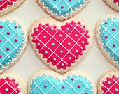 Red & Teal Valentine's Day Heart Sugar Cookies