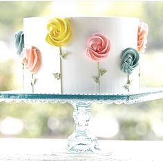 I love this simple cake design! Very pretty, just photo Fancy Cakes, Cute Cakes, Pretty Cakes, Wilton Cake Decorating, Cookie Decorating, Simple Cake Decorating, Decorating Ideas, Beginner Cake Decorating, Cake Decorating Classes