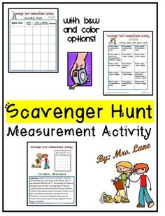 Scavenger Hunt Measurement Activity (Customary and Metric Units) from Mrs Lane on TeachersNotebook.com (21 pages)
