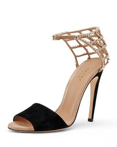 Caged Crystal Ankle-Strap Sandal, Black/Tan by Gucci